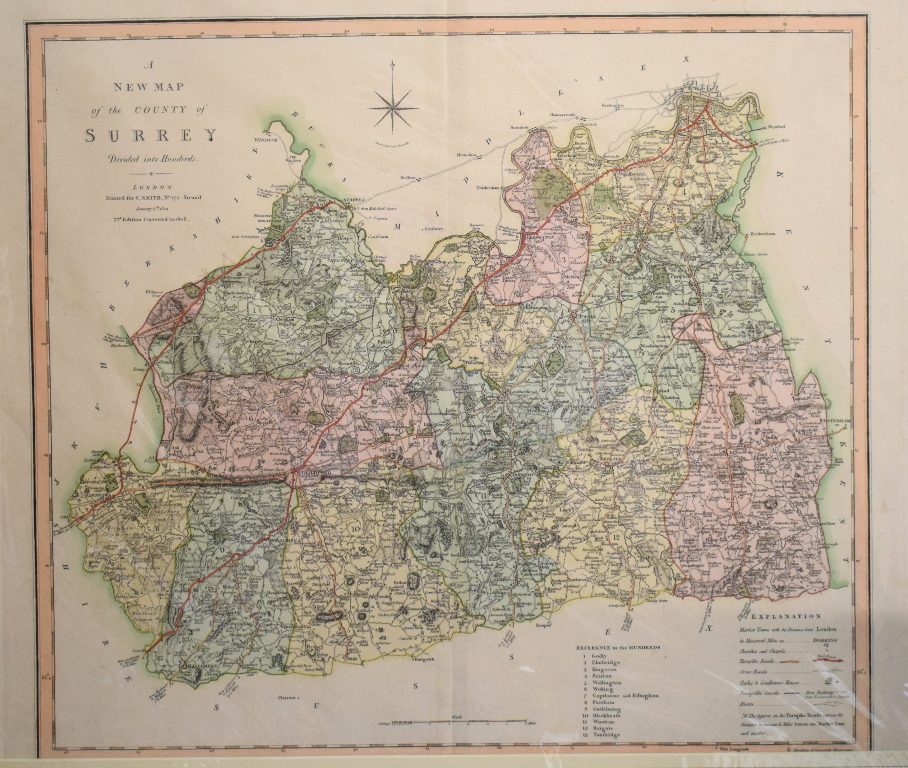 Lot 68 - Surrey. A John Cary coloured map, A New Map of Surry, divided into Hundreds Exhibiting It's Roads,
