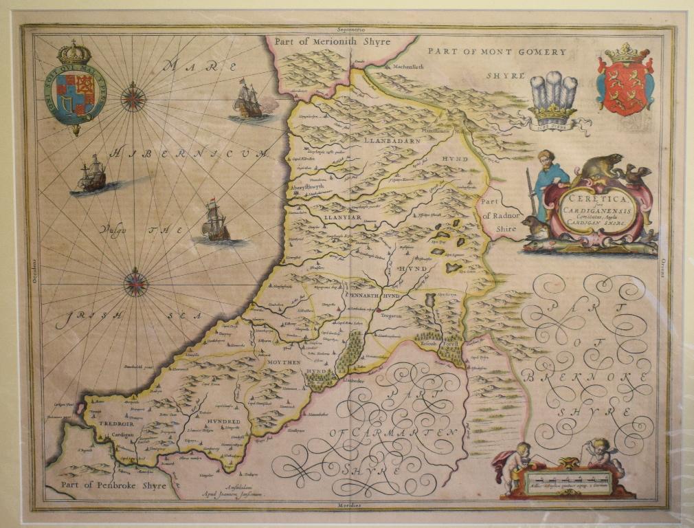 Lot 52 - Cardiganshire. A Jan Jansson tinted map, Cardiganensis Comitatus; Anglis Cardigan Shire, mounted,