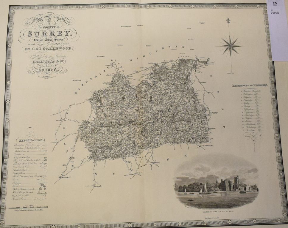 Lot 25 - Surrey. A C & I Greenwood map, Map of the County of Surrey from an Actual Survey made in the Years