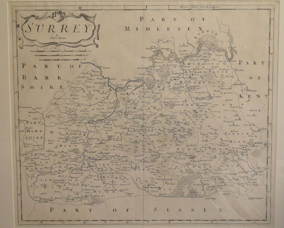 Lot 43 - Suffolk. A Robert Morden map, Suffolk, mounted, 38 x 44 cm, another, Surrey, mounted, 37 x 43 cm,