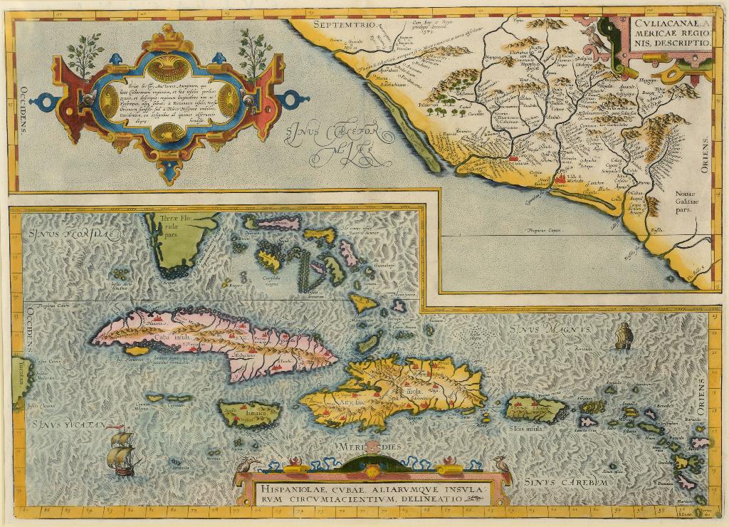 Lot 5 - Spanish Americas. An Abraham Ortelius coloured map, Hispaniolae, Cubae, Aliarumque Insularum