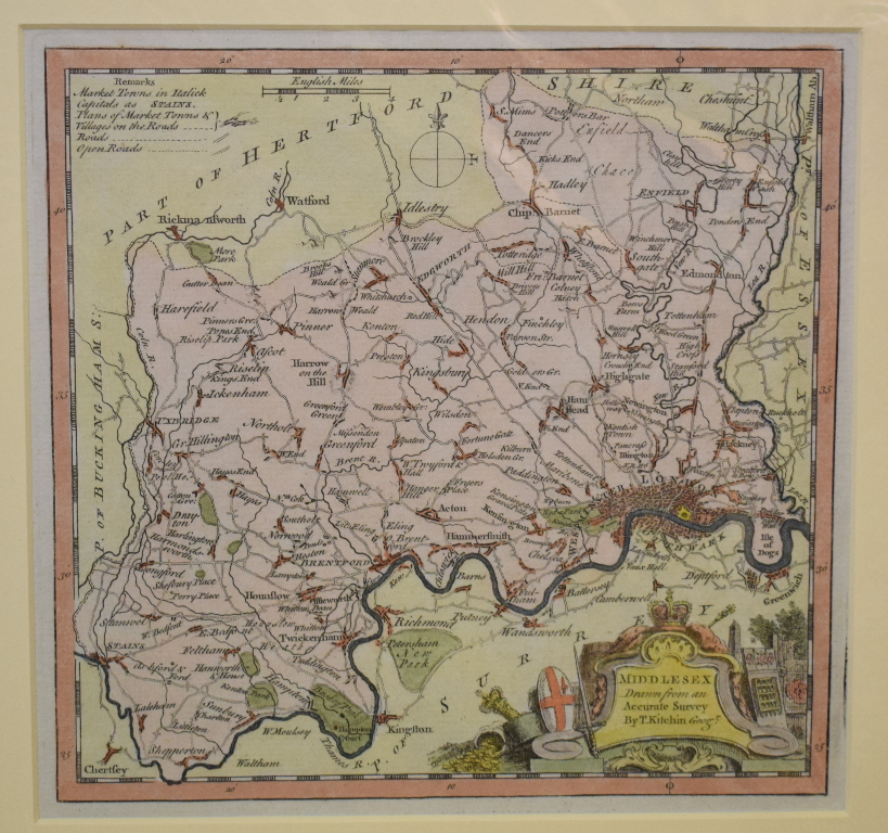 Lot 103 - Middlesex. A Thomas Kitchin coloured map, Middlesex, Drawn from an Accurate Survey, mounted, 19.5