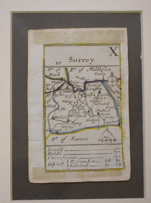 Lot 115 - An Album of maps, mostly surrey, including Cary, Pigot, Cowley, Kitchin, Ellis, and Gibson, some