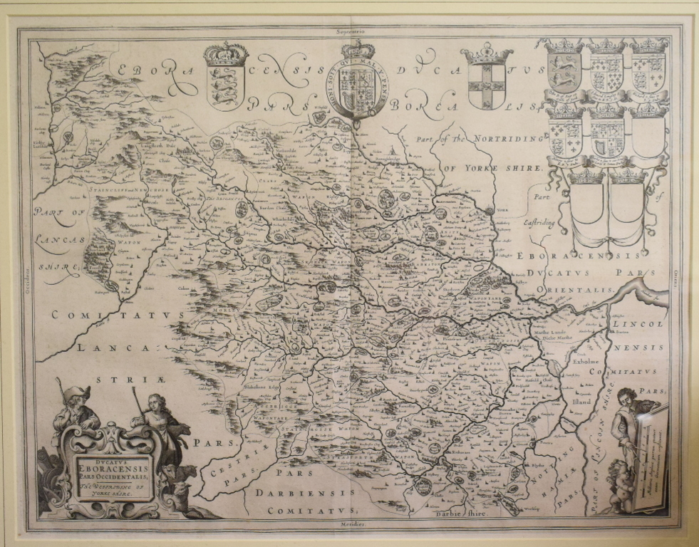 Lot 16 - Yorkshire. A Joan Blaeu map of the West Riding of Yorkshire, Ducatus Eboracensis Pars