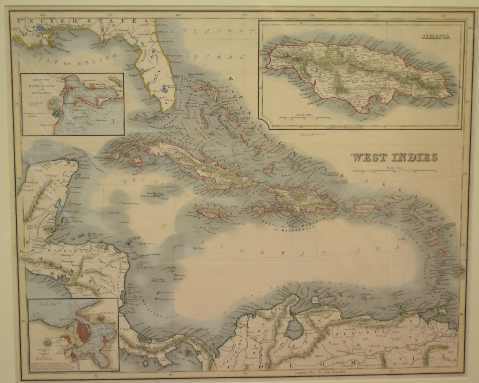 Lot 78 - West Indies. A Blackie coloured map, West Indies, mounted, 31.5 x 38 cm, a coloured map, the West
