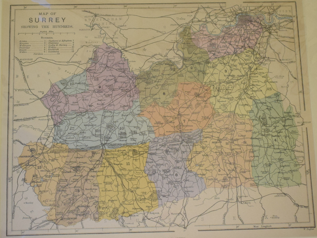 Lot 70 - Surrey. A coloured map, Published for the Holmesdale Natural History Club, Ryegate, a Geological map