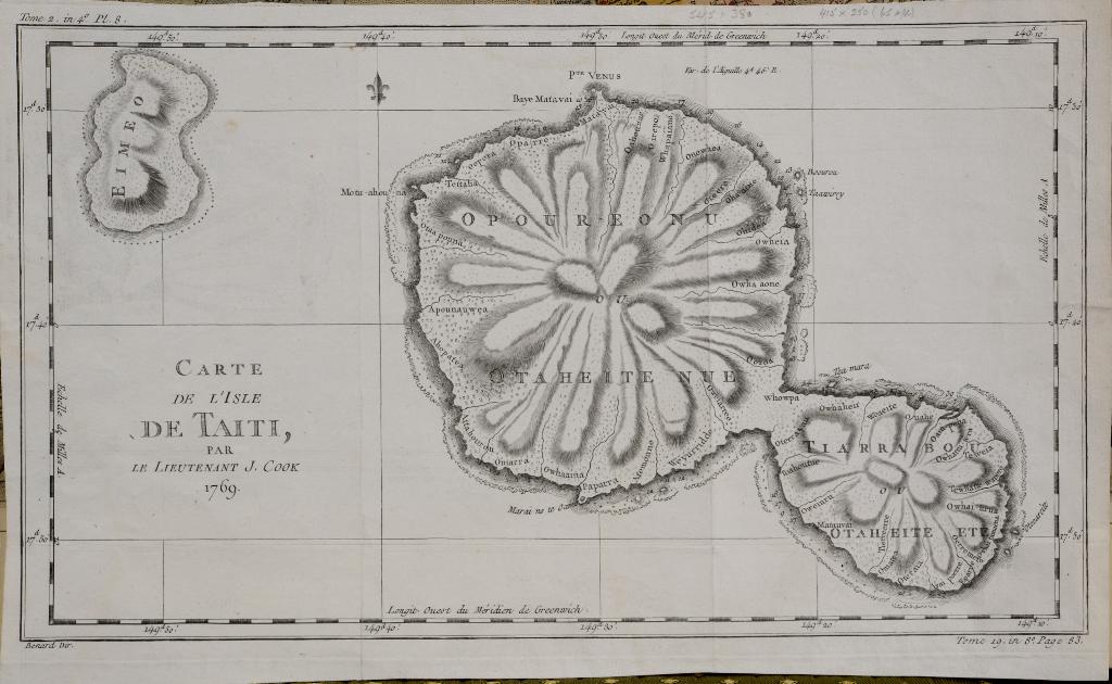 Lot 81 - Tahiti. A Jacques Bellin map, Carte De L'Isle De Taiti, Par Le Lieutenant J Cook, 1769, unframed,