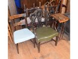 Lot 907 - A George III style carver chair, with a leather seat, two dining chairs, a rosewood table, two