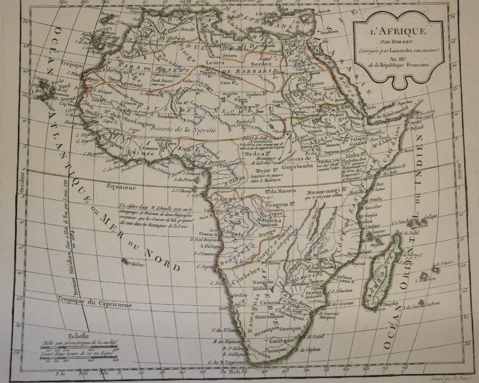 Lot 99 - The Four Continents, a set of four Robert De Vaugondy tinted maps, L'Afrique, L'Asie, L'Amerique and