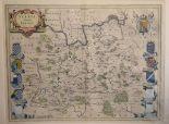 Lot 57 - Surrey. A Willem Blaeu coloured map, Surria Vernacule Surrey, mounted, 40 x 52 cm Folded
