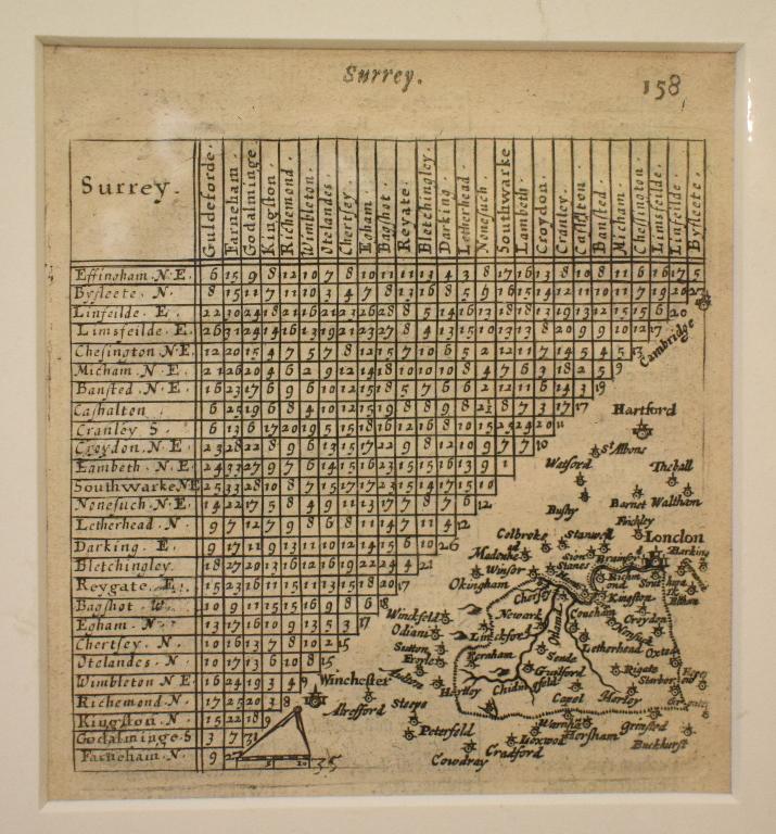 Lot 101 - Surrey. A Van Langeren map of Surrey, with distances, mounted, 12 x 11 cm, a coloured map of Hamp-