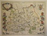 Lot 61 - Surrey. A Willem Blaeu coloured map, Surria Vernacule Surrey, mounted, 40 x 51 cm