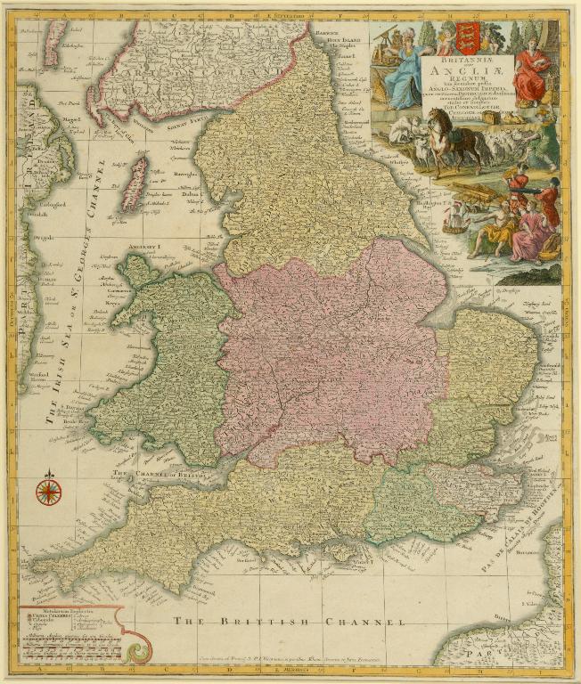 Lot 6 - England. A Seutter's coloured map, Britanniae sive Angliae Regnum, 58 x 49.5 cm See illustration
