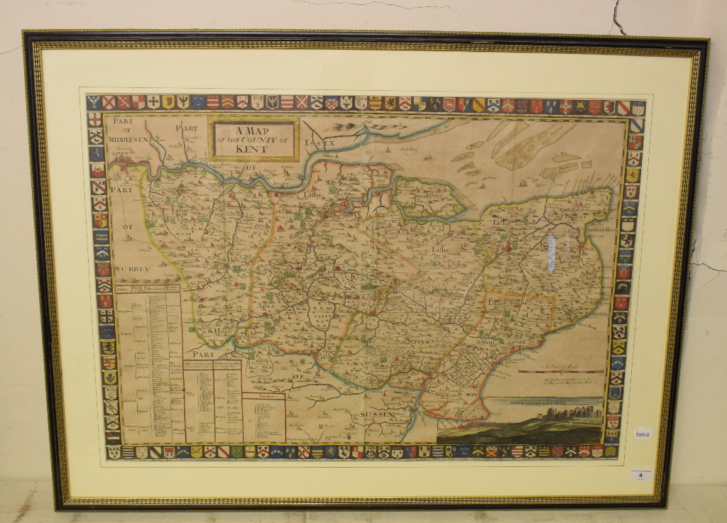 Lot 4 - Kent. A John Harris coloured map, A Map of the County of Kent, with a vignette of Dover Castle and
