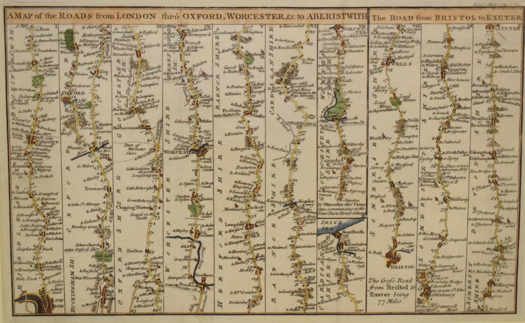 Lot 91 - Road Map. A tinted map, A Map of the Road from London to Berwick, commencing at York, mounted, 18.