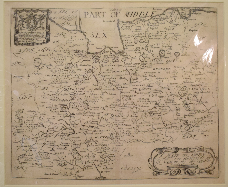 Lot 94 - Surrey. A Richard Blome map, A Mapp of Surrey, with it's Hundreds, mounted, 27 x 32.5 cm