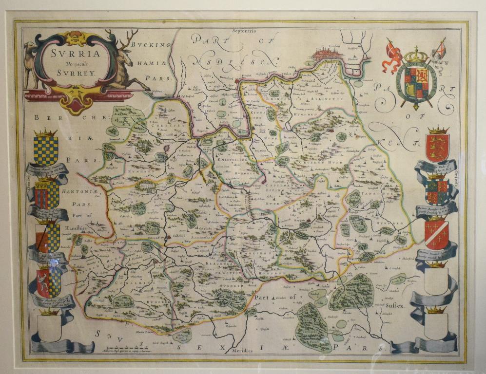 Lot 53 - Surrey. A Willem Blaeu coloured map, Surria Vernacule Surrey, mounted, 39.5 x 51 cm Folded