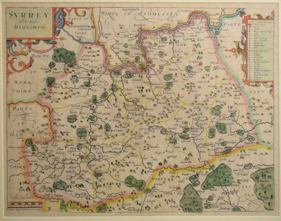 Lot 37 - Surrey. A William Kip tinted map, Surrey Olim Sedes Regnorum, plate no. 9, mounted, 29.5 x 38 cm