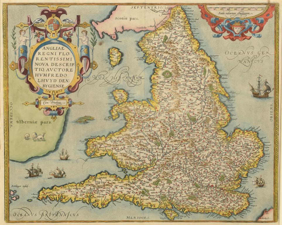 Lot 7 - England and Wales. From Ortelius' Theatrum Orbis Terrarum, Angliae regni Florentissimi Nova