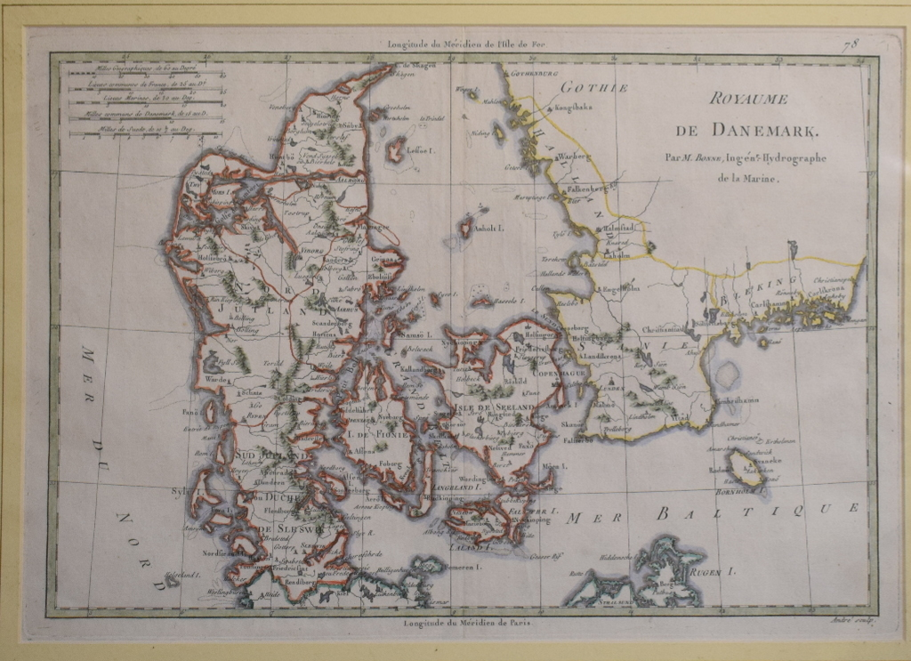 Lot 36 - Denmark. A Rigobert Bonne tinted map, Royaume De Danemark, 25 x 36 cm, and two other maps of
