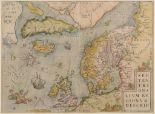 Lot 84 - Northern Europe. An Abraham Ortelius coloured map, Septentrionalium Regionum Descrip, Pigmys live in