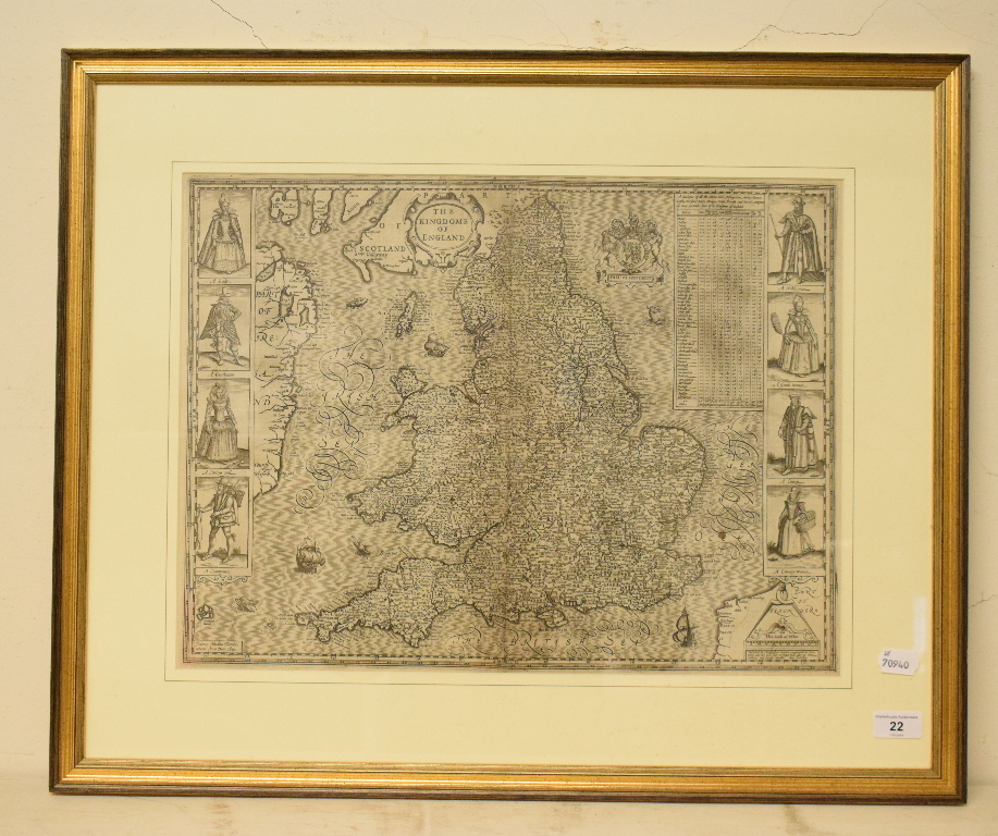 Lot 22 - England. A John Speed map, The Kingdome of England, with vignettes of figures, including A