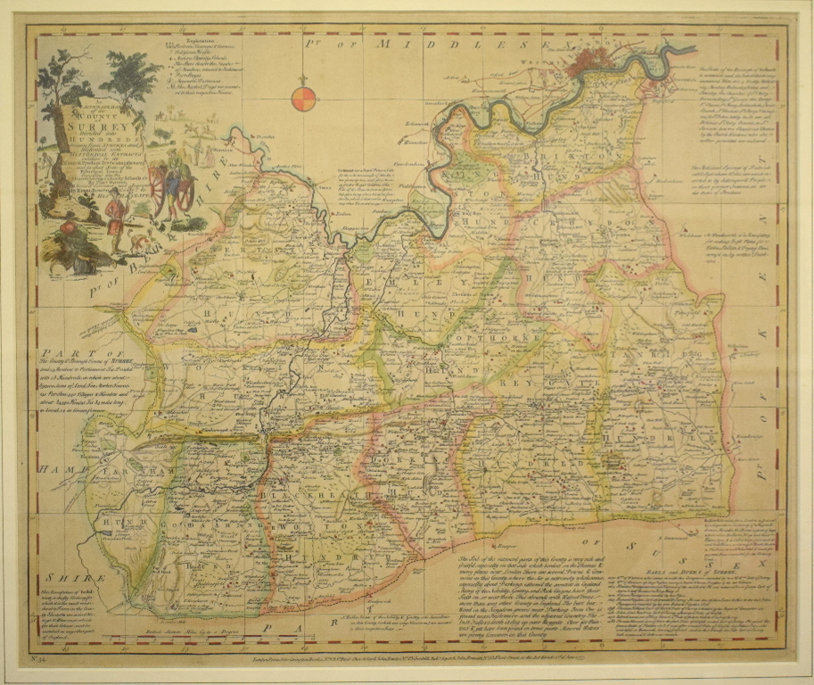 Lot 23 - Surrey. An Emanuel Bowen tinted map, An Accurate Map of the County of Surrey, Divided into Hundreds,