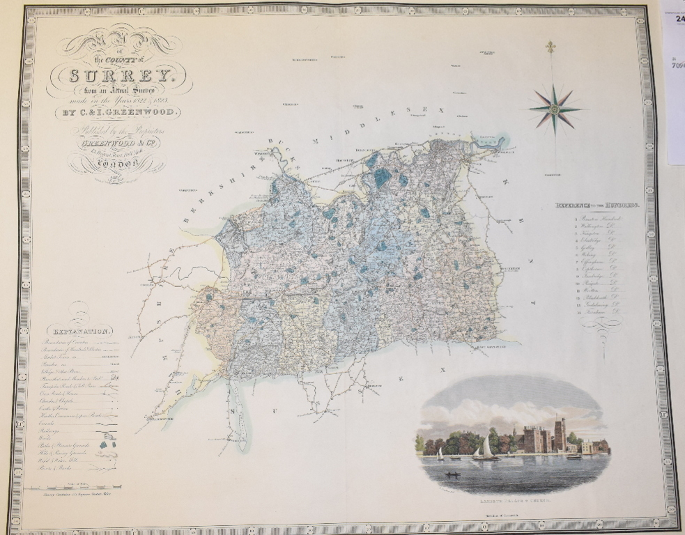 Lot 24 - Surrey. A C & I Greenwood coloured map, Map of the County of Surrey from an Actual Survey made in