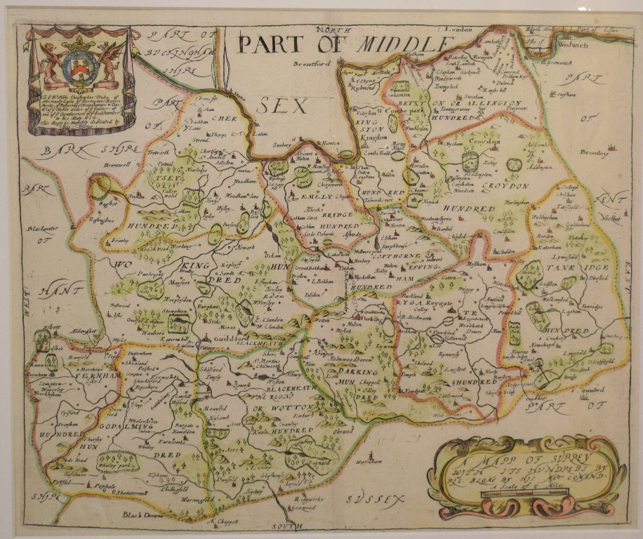 Lot 96 - Surrey. A Richard Blome coloured map, A Mapp of Surrey, with it's Hundreds, mounted, 26.5 x 32 cm