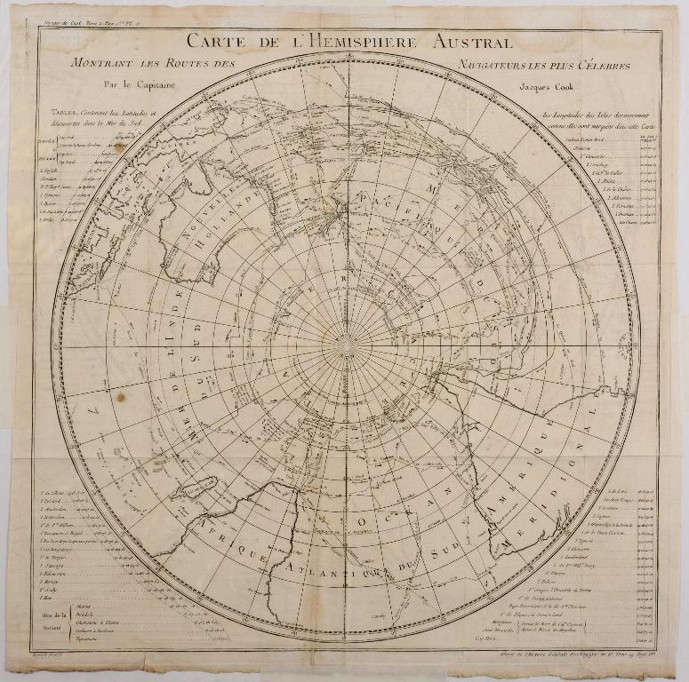 Lot 27 - Southern Hemisphere. A Bellin map, Carte De L'Hemisphere Austral, Montrant Les Routes Des
