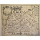 Lot 62 - Surrey. A John Seller tinted map, Surrey Actually Surveyd and Delineated, mounted, 43.5 x 53 cm