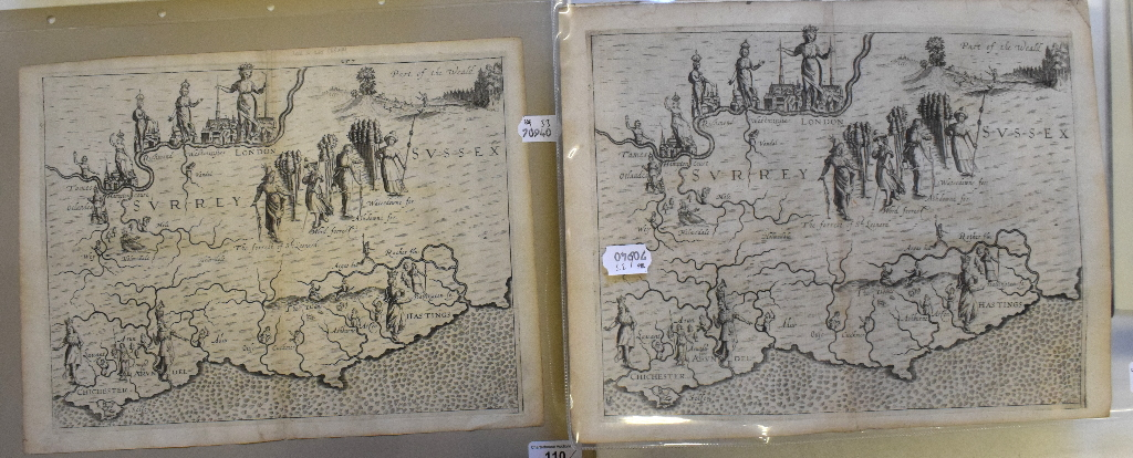 Lot 110 - Surrey, Sussex and London. A Michael Drayton/William Hole allegorical map, of the area around