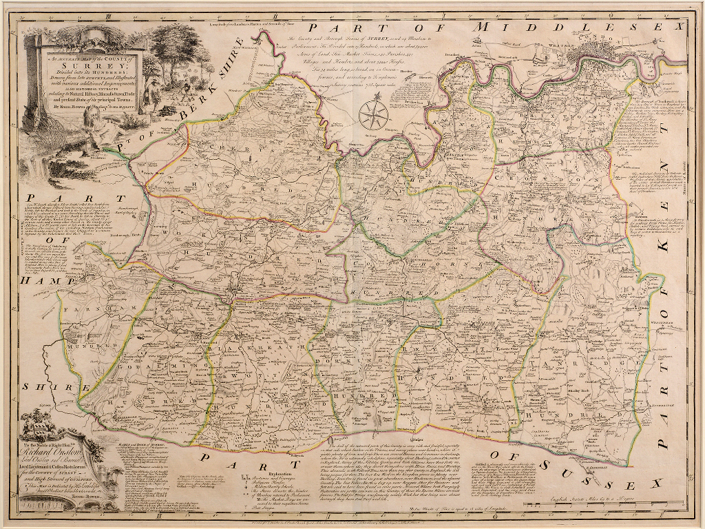 Lot 28 - Surrey. An Emanuel Bowen tinted map, An Accurate Map of the County of Surrey; Divided into its