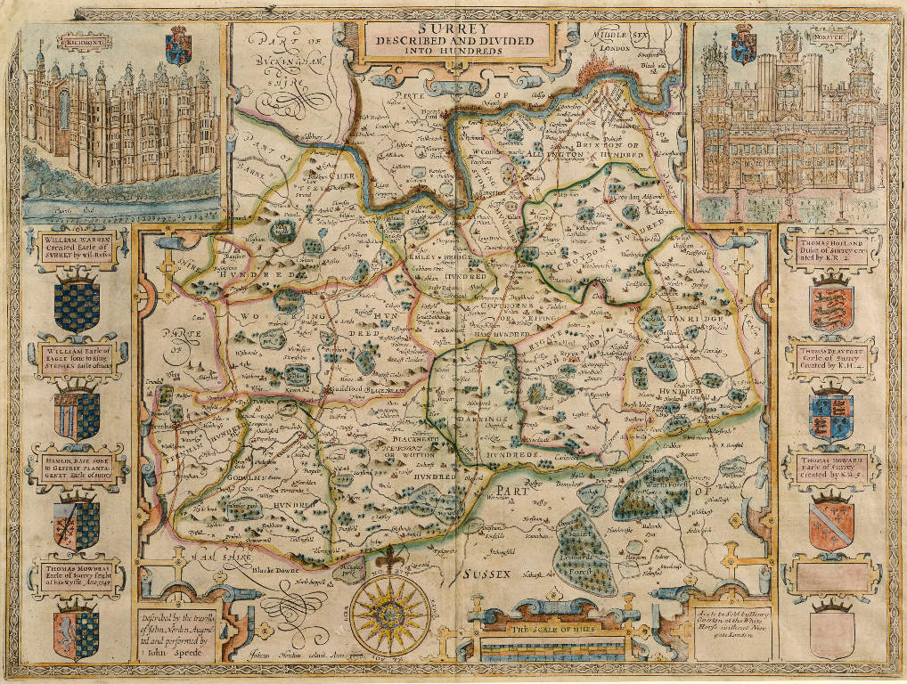 Lot 58 - Surrey. A John Speed coloured map, Surrey Described And Divided Into Hundreds, with vignettes of