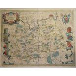 Lot 64 - Surrey. A Willem Blaeu coloured map, Surria Vernacule Surrey, mounted, 40 x 51 cm Report by RB