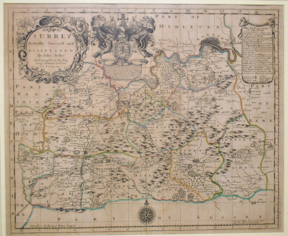 Lot 12 - Surrey. A John Seller tinted map, Surrey Actually Surveyd and Delineated by John Seller Hydrographer