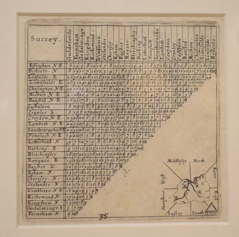 Lot 108 - Surrey. A Thomas Kitchin coloured map, Surrey, mounted, 18 x 21 cm, a Van Langeren map of Surrey,