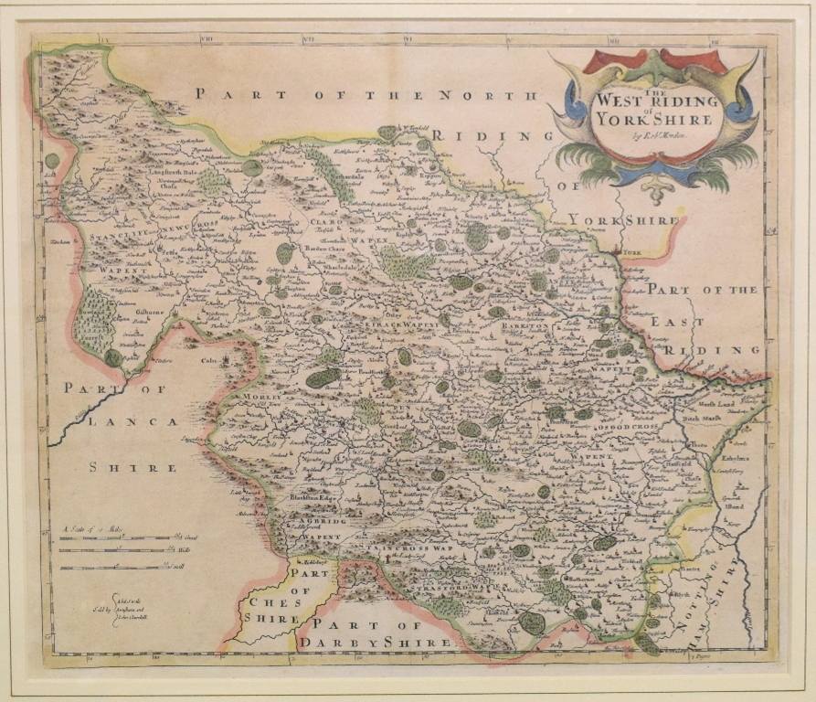 Lot 11 - Yorkshire. A Robert Morden coloured map, The West Riding of Yorkshire, 36.5 x 42.5 cm Centre fold