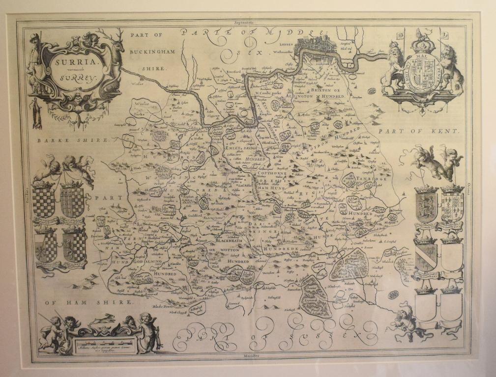 Lot 51 - Surrey. A Jan Jansson map, Surria Vernacule Surrey, mounted, 39.5 x 52 cm Folded
