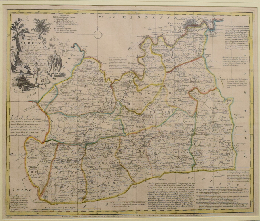 Lot 17 - Surrey. An Emanuel Bowen tinted map, An Accurate Map of the County of Surrey, Divided into Hundreds,