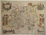 Lot 59 - Surrey. A Jan Jansson coloured map, Surria Vernacule Surrey, mounted, 39 x 51 cm Folded