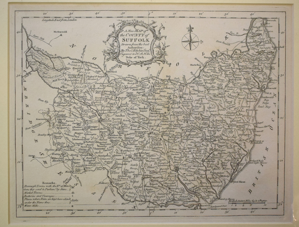 Lot 116 - Suffolk. A Thomas Kitchin map, A New Map of the County of Suffolk, mounted, 20.5 x 26.5 cm, a John
