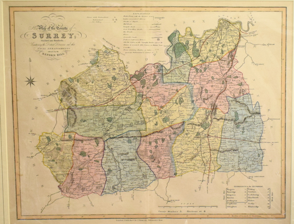 Lot 46 - Surrey. A coloured map, New Map of the County of Surrey: Divided into Hundreds, Containing the