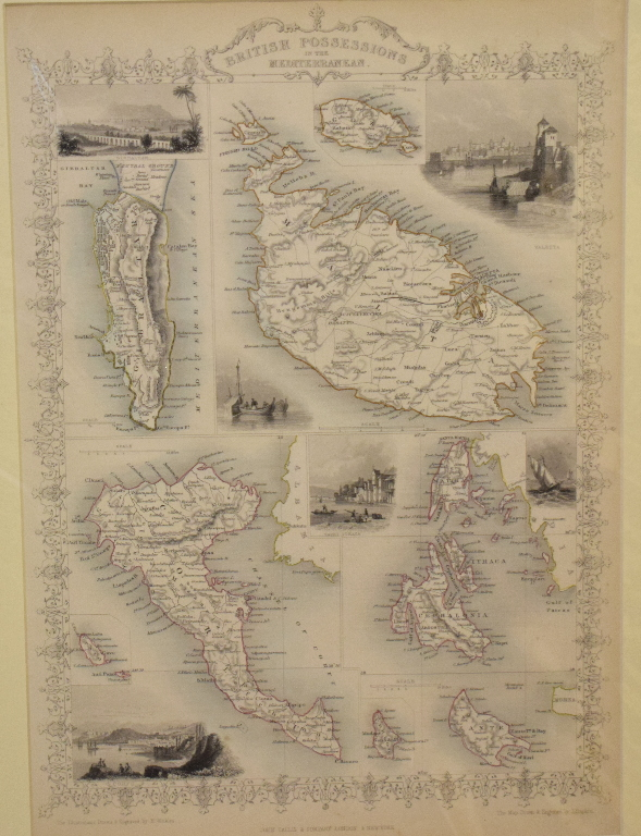 Lot 74 - The Mediterranean. A John Tallis tinted map, British Possessions in the Mediterranean, mounted, 36 x
