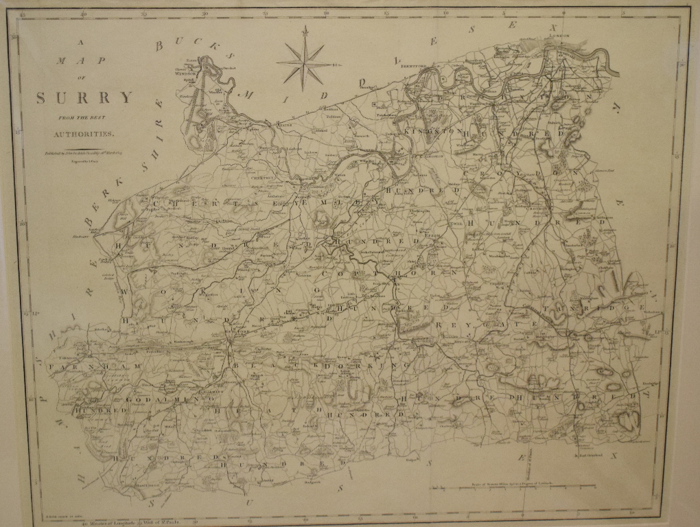 Lot 88 - Surrey. A Robert Morden map, Surrey, mounted, 37 x 43 cm, and a John Cary Map of Surry, From the