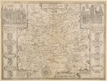 Lot 56 - Surrey. A John Speed map, Surrey Described And Divided Into Hundreds, with vignettes of Richmont and