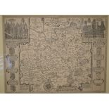 Lot 118 - Surrey. A John Speed facsimile reproduction, Surrey Described and Divided into Hundreds, mounted,