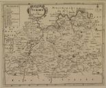 Lot 92 - Surrey. A Robert Morden map, Surrey, mounted, 18 x 21.5 cm, and a Richard Blome coloured map,