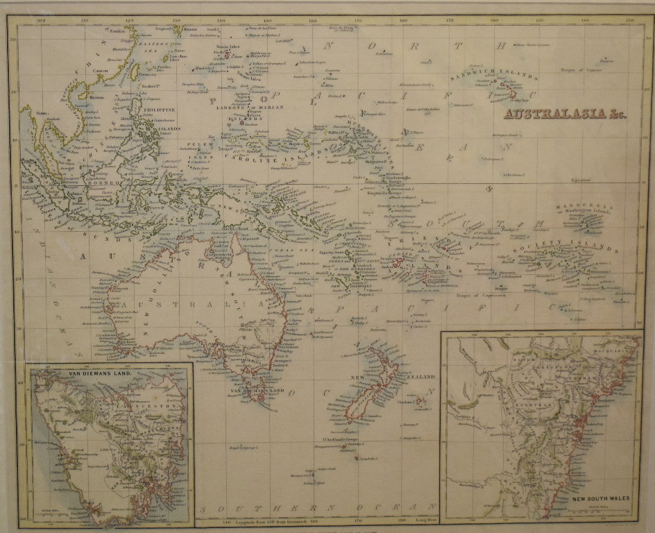 Lot 76 - Australia. A coloured map, New Zealand and The Australian Colonies of Great Britain, mounted, 24 x