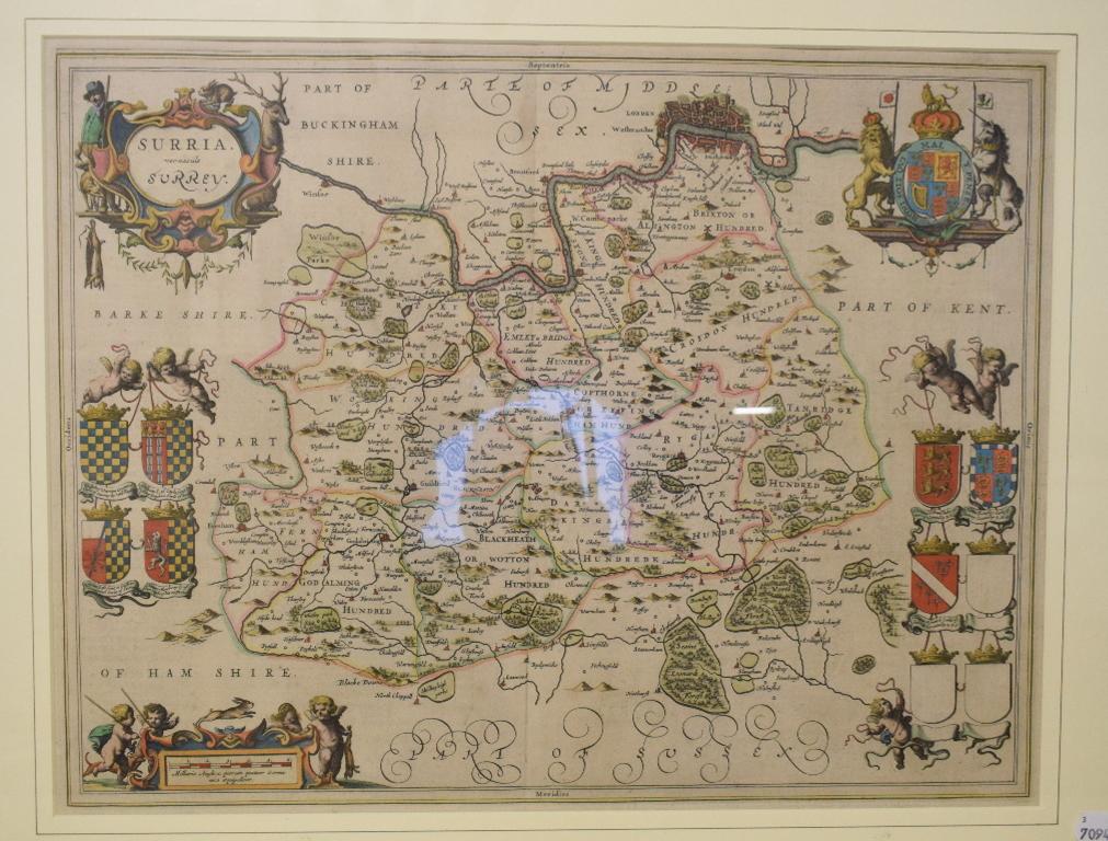 Lot 3 - Surrey. A tinted map, Surria Vernacule Surrey, 39.5 x 51 cm Centre fold